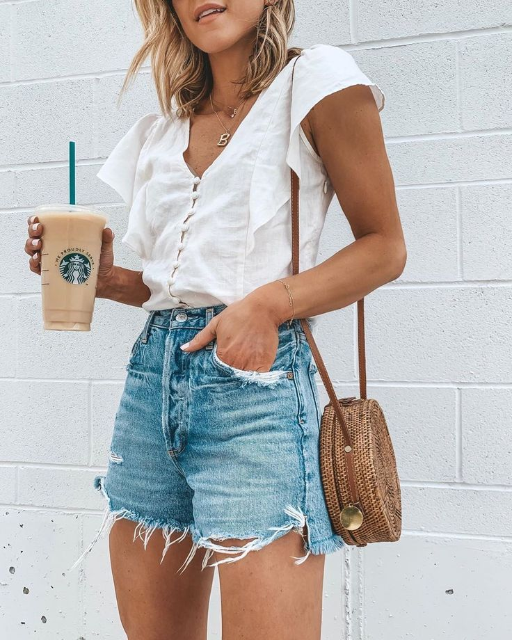 """Becky Hillyard // Cella Jane on Instagram: """"Weekend ready. 🖤☕️ I'm wearing my favorite denim jeans shorts- love the flattering high waist fit and they cover your bum🙌🏻 ps- my top is…"""" – Summer outfits"""