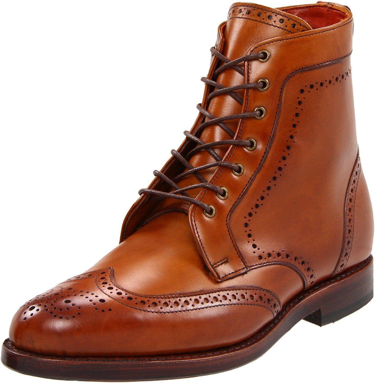 Men Tan brown wingtip brogue boots, Men