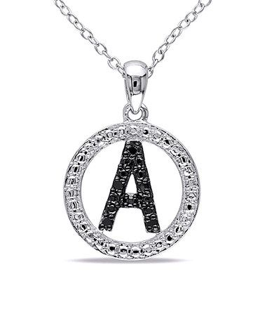 Another great find on #zulily! Black Diamond & Silver Initial Pendant Necklace #zulilyfinds