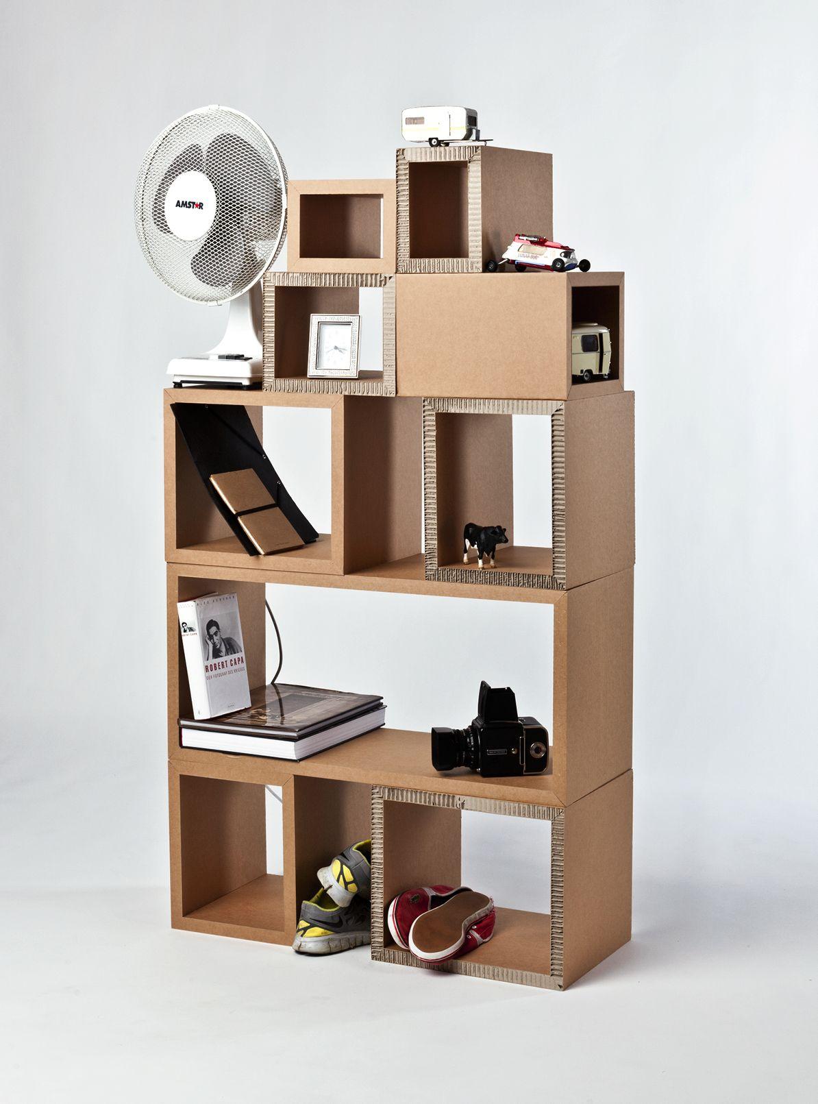 estantería modular de cartón | Armarios y Estanterías Recicladas ...