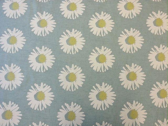 Clarke Clarke Capri Mineral Blue Yellow Floral Daisy Retro