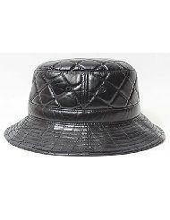 Black Retro Leather Bucket Hat