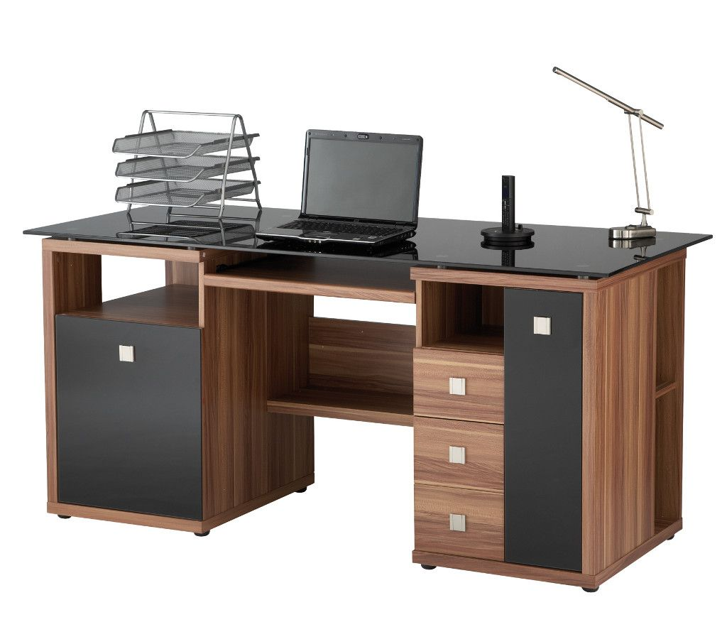 Saratoga Black Glass Computer Desk in white or walnut with black glass  desktop and doors  this stunning computer workstation has free delivery  throughout UK. Saratoga Walnut Effect Executive Computer Desk   Desk Ideas