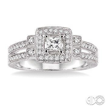 1/2 Ctw Diamond Engagement Ring with 1/5 Ct Princess Cut Center Stone in 14K White Gold