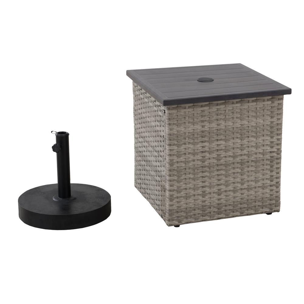 Sunjoy Rosalie Gray Square Steel Side Table With Umbrella Stand 169728 In 2020