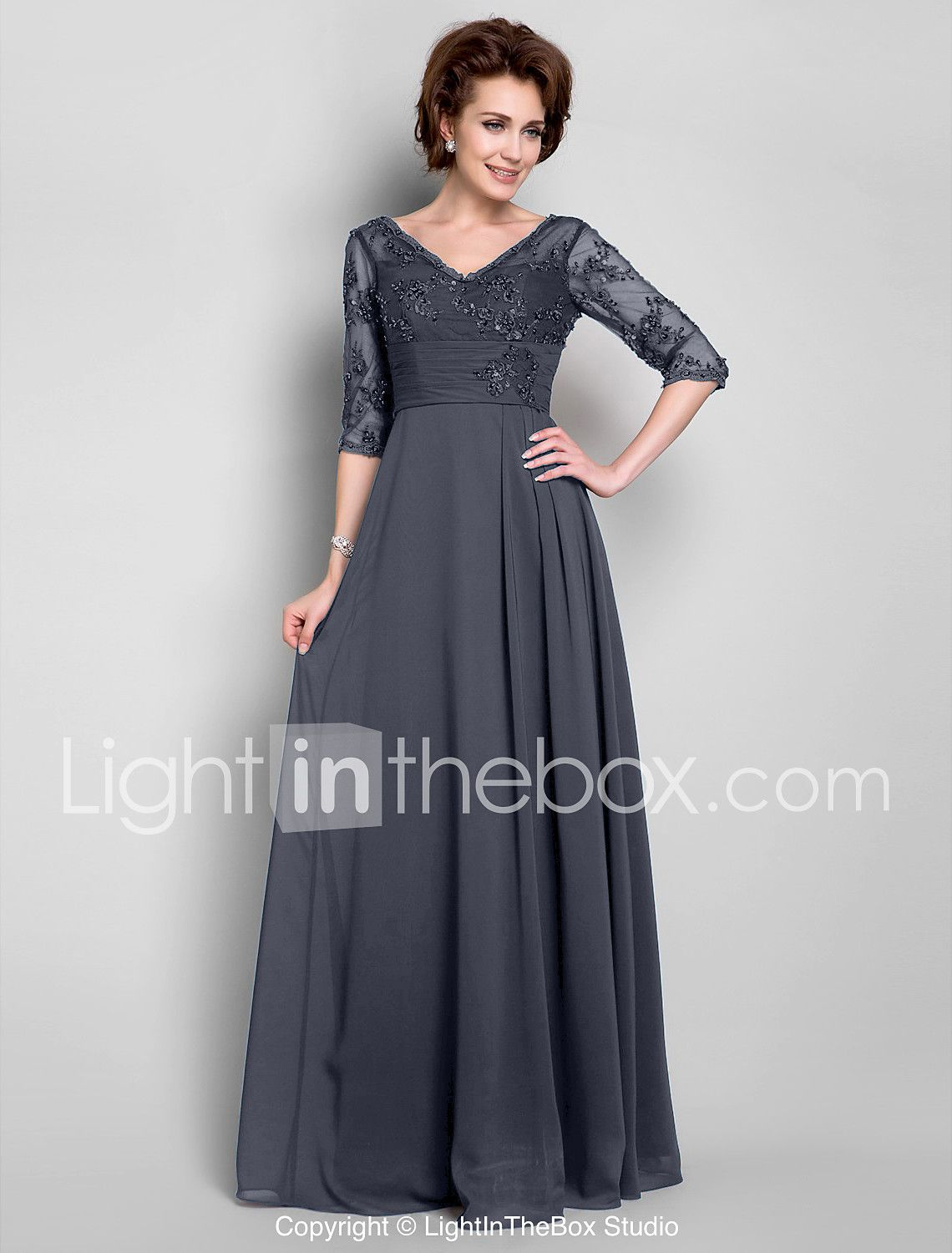 A-Line V Neck Floor Length Chiffon Lace Mother of the Bride Dress ...