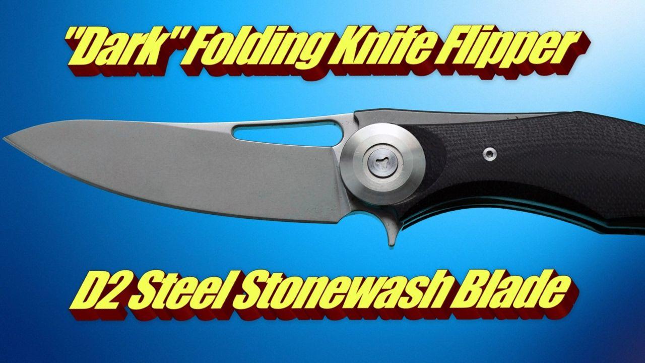Dark Folding Knife Flipper D2 Steel Stonewash Blade