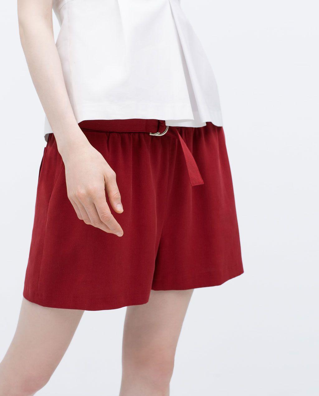 Zara mulher calÇÕes fluidos cinto to wear pinterest red