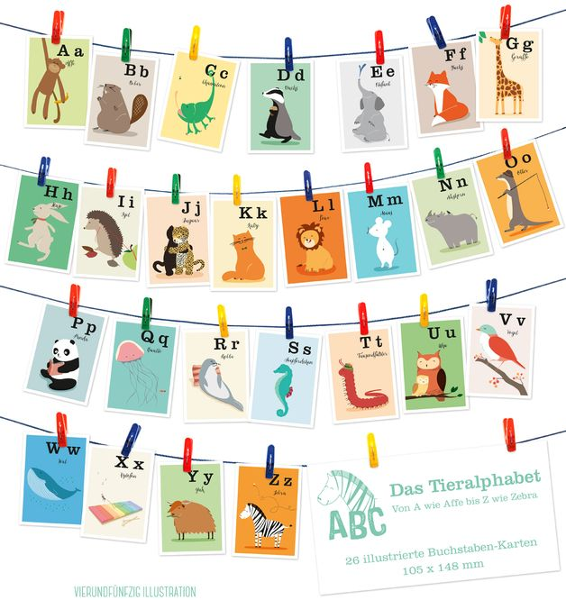26 TieralphabetKarten, A6 (105 x 148 mm) Abc poster