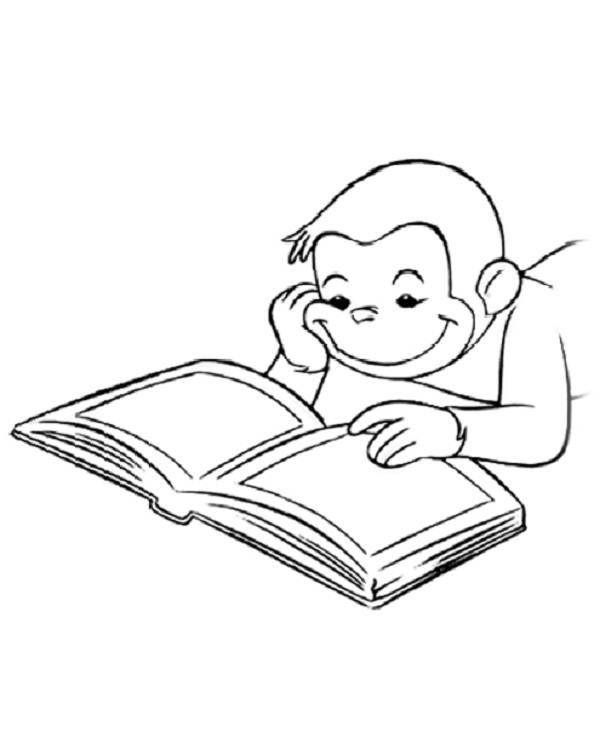curious george coloring pages  Curious George Reading A Book
