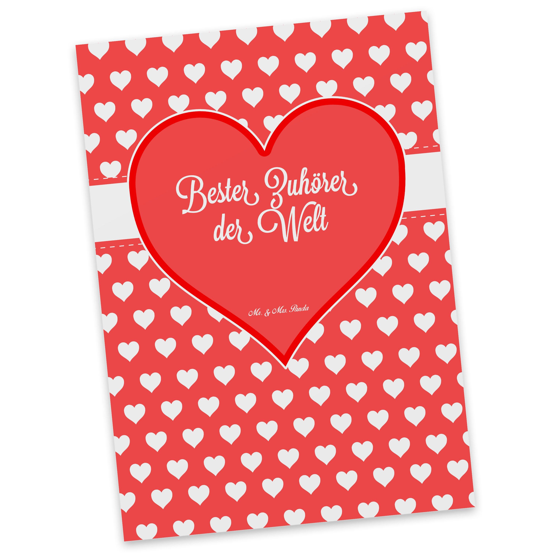 Postkarte Herz Geschenk Bester Zuhörer der Welt aus Karton 300 Gramm  weiß - Das Original von Mr. & Mrs. Panda.  Diese wunderschöne Postkarte aus edlem und hochwertigem 300 Gramm Papier wurde matt glänzend bedruckt und wirkt dadurch sehr edel. Natürlich ist sie auch als Geschenkkarte oder Einladungskarte problemlos zu verwenden. Jede unserer Postkarten wird von uns per hand entworfen, gefertigt, verpackt und verschickt.    Über unser Motiv Herz Geschenk  Das Motiv Herz Geschenk ist ein…