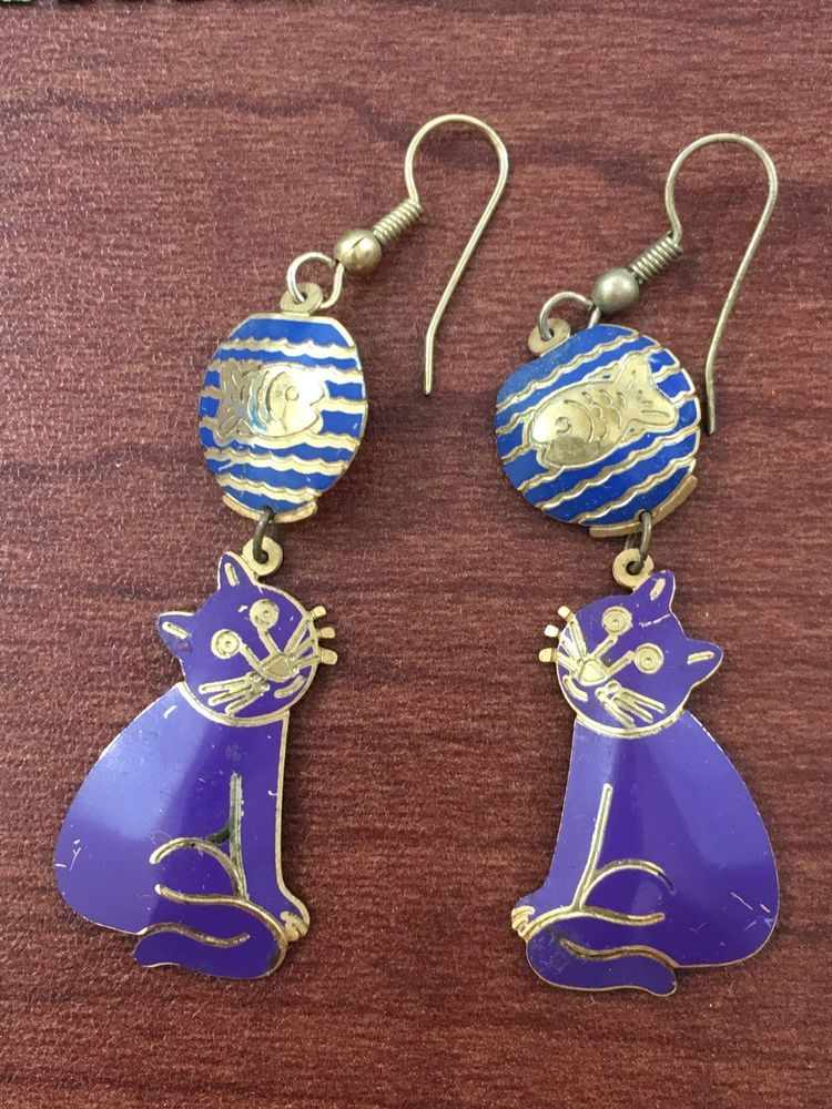 Vtg Edgar Berebi Enameled Purple Cats Earrings With Fish Dreams 2 Long
