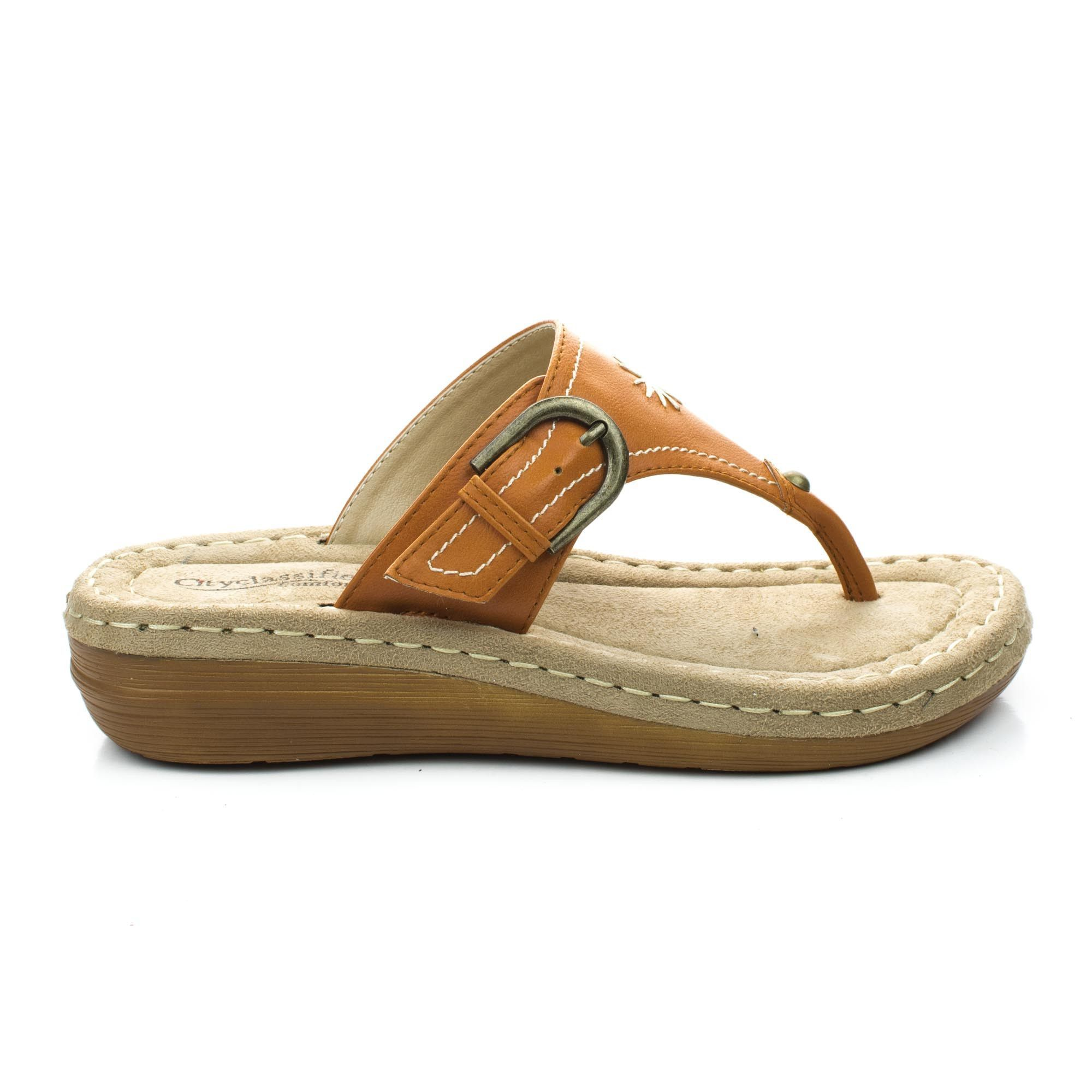 Travis Comfortable Memory Foam Insole Pad Tribal Soft Rubber Wedge Thong  Sandal