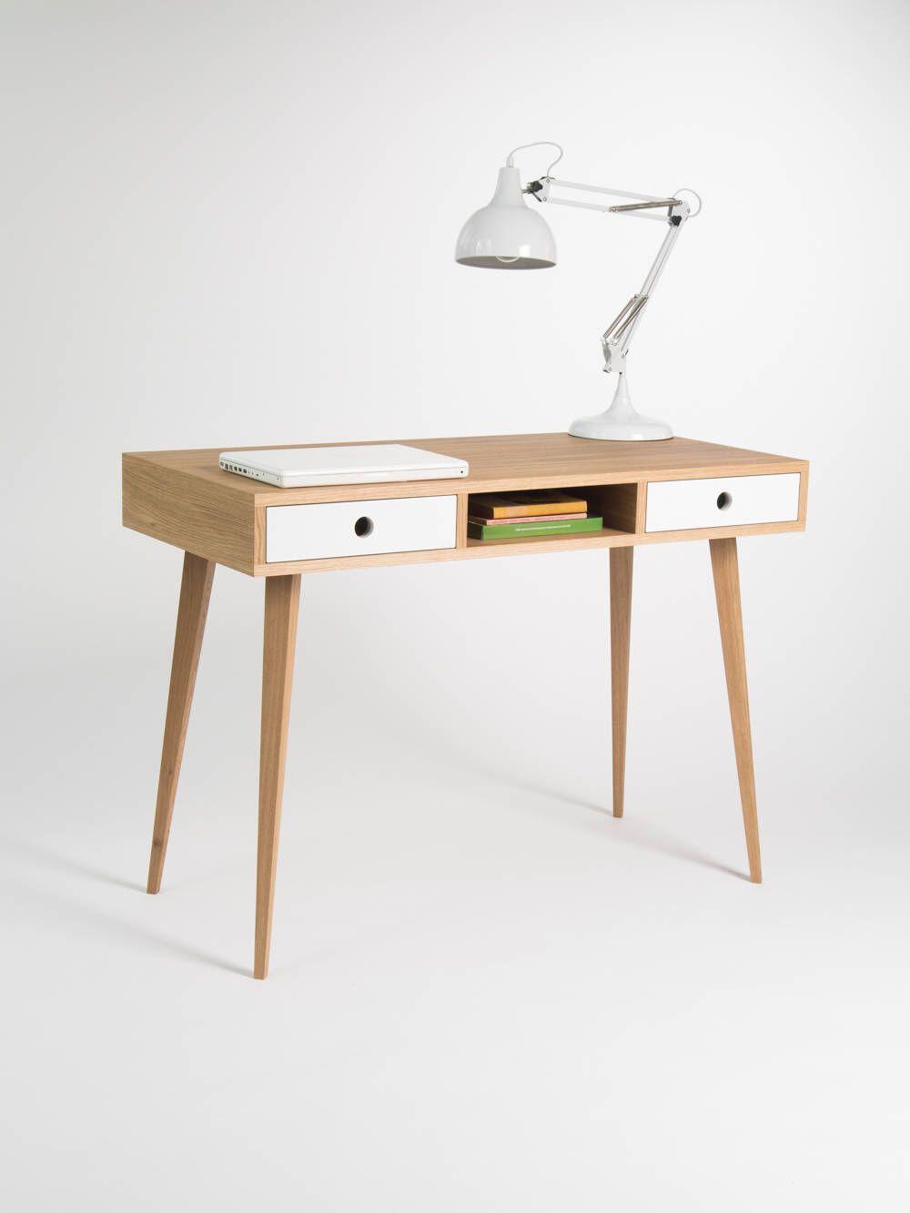 Desk For Home Dressing Table Bureau With White Drawers Oak Wood Scandinavian Design Mid Century Modern Home Desk Oak Wood Desk Scandinavian Design