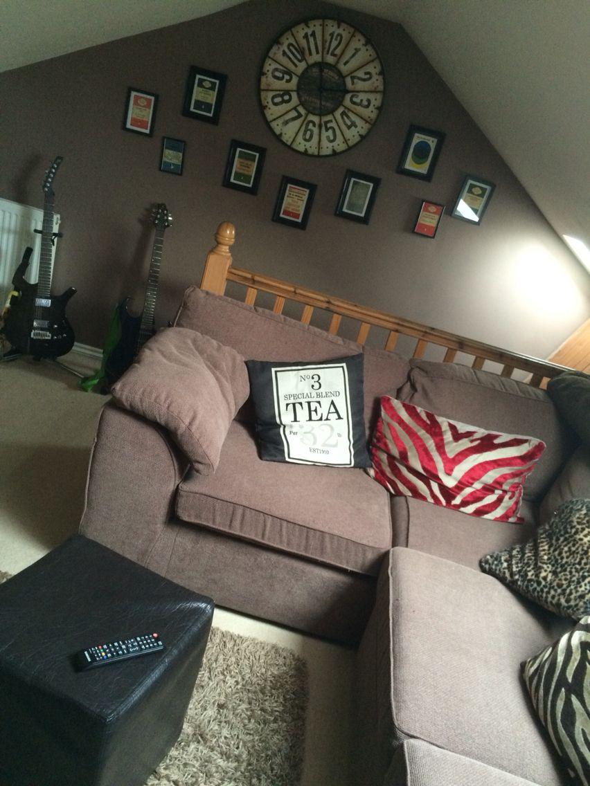 Loft space , attic room, feature wall colour dulux intense truffle ...