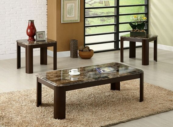 Charmant A.M.B. Furniture U0026 Design :: Living Room Furniture :: Coffee Table Sets ::  3 Pc. Carson Contemporary Style Faux Marble Coffee Table Set With Dark  Cherry ...