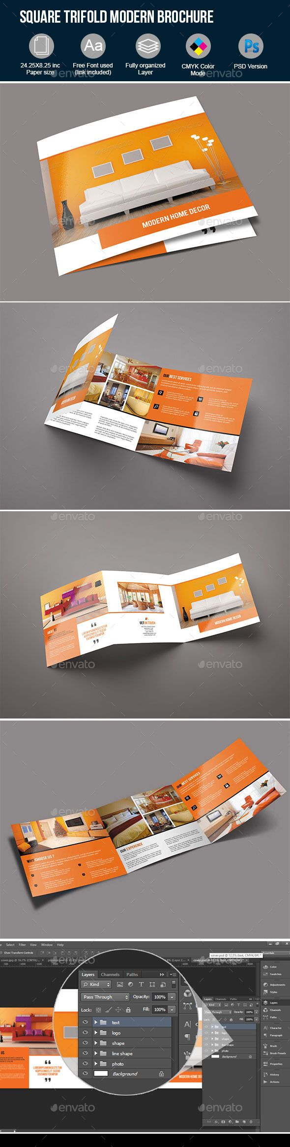 Square Trifold Modern Interior Brochure Template #design Download: http://graphicriver.net/item/square-trifold-modern-interior-brochure-/12520934?ref=ksioks