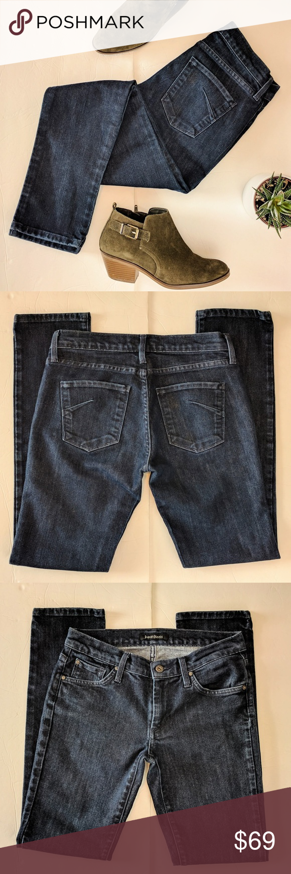 "James Jeans Randi Dark Wash Skinny Jeans Sz 27 These dark wash skinny jeans from Jeans Jeans are in excellent condition.? No size is indicated but they measure approx 14.5"" across the waist, 18"" across the thighs, 7.5"" rise, 31"" inseam, 12"" leg opening. 60% cotton, 40% expand. James Jeans Jeans Skinny"