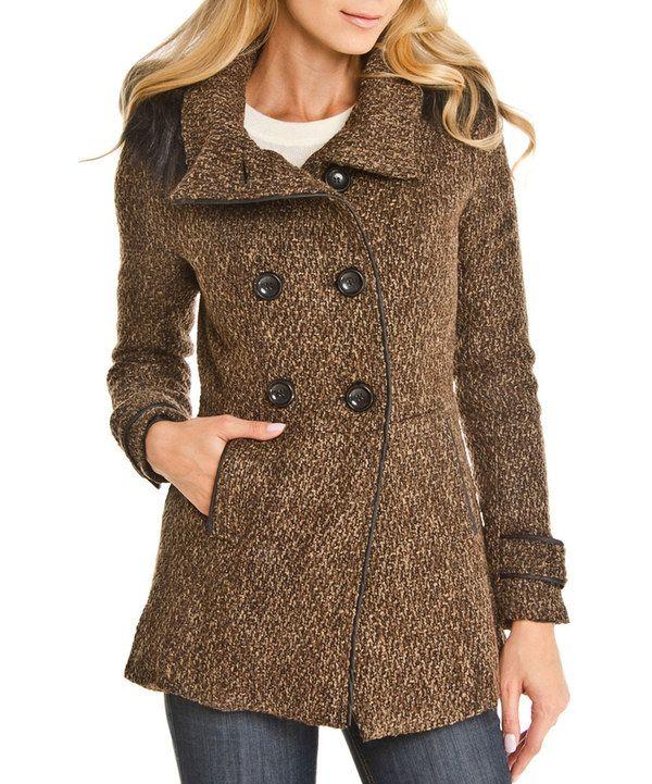 Look at this Elegant Apparel Brown Textured Faux Fur Peacoat ...