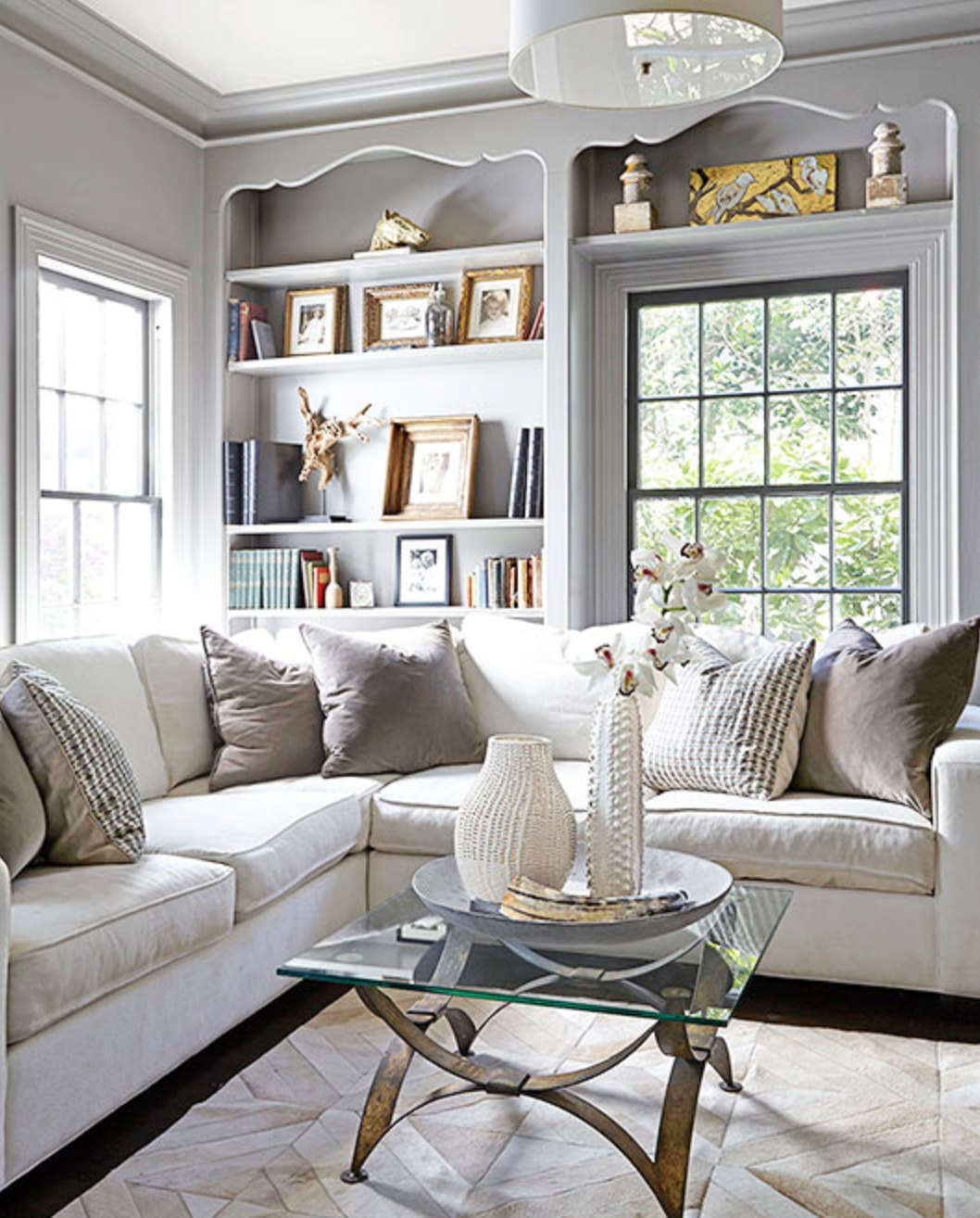 How to Style A Bookcase | Black window trims, White family ...