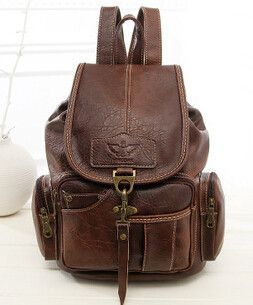Vintage Backpacks for Teenage Girls Women Schoolbags High Quality PU Leather