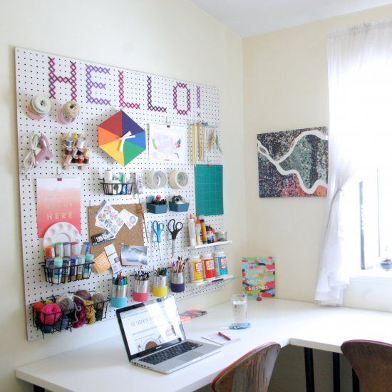 Delightful Bright And Fun Craft Room Organization With Peg Board Wall!