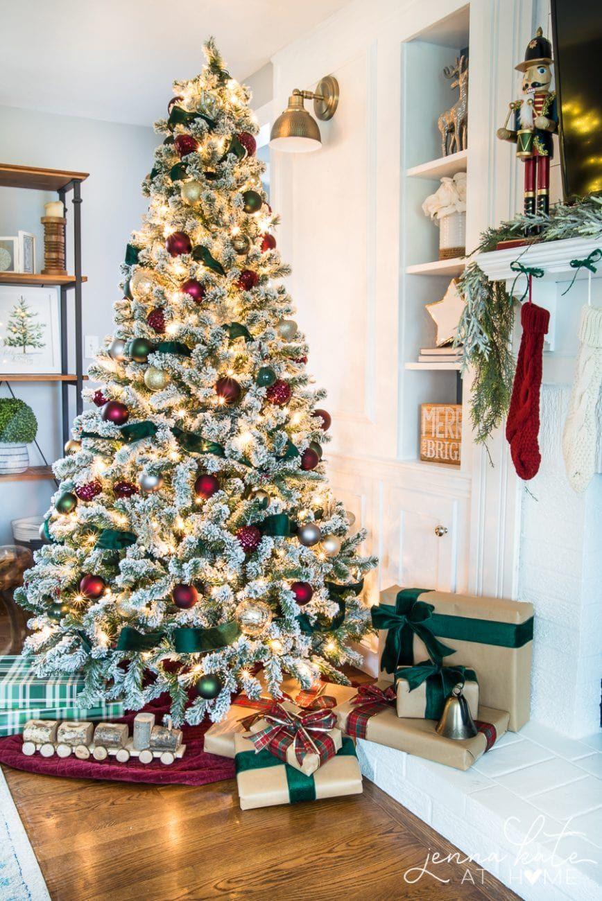 Dark Green Burgundy Christmas Tree