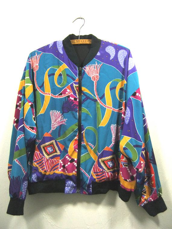 90s Silk Bomber Jacket Fresh Prince Style by
