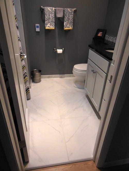 24x24 Tile In Small Bathroom Very Minimal Groutlines Large