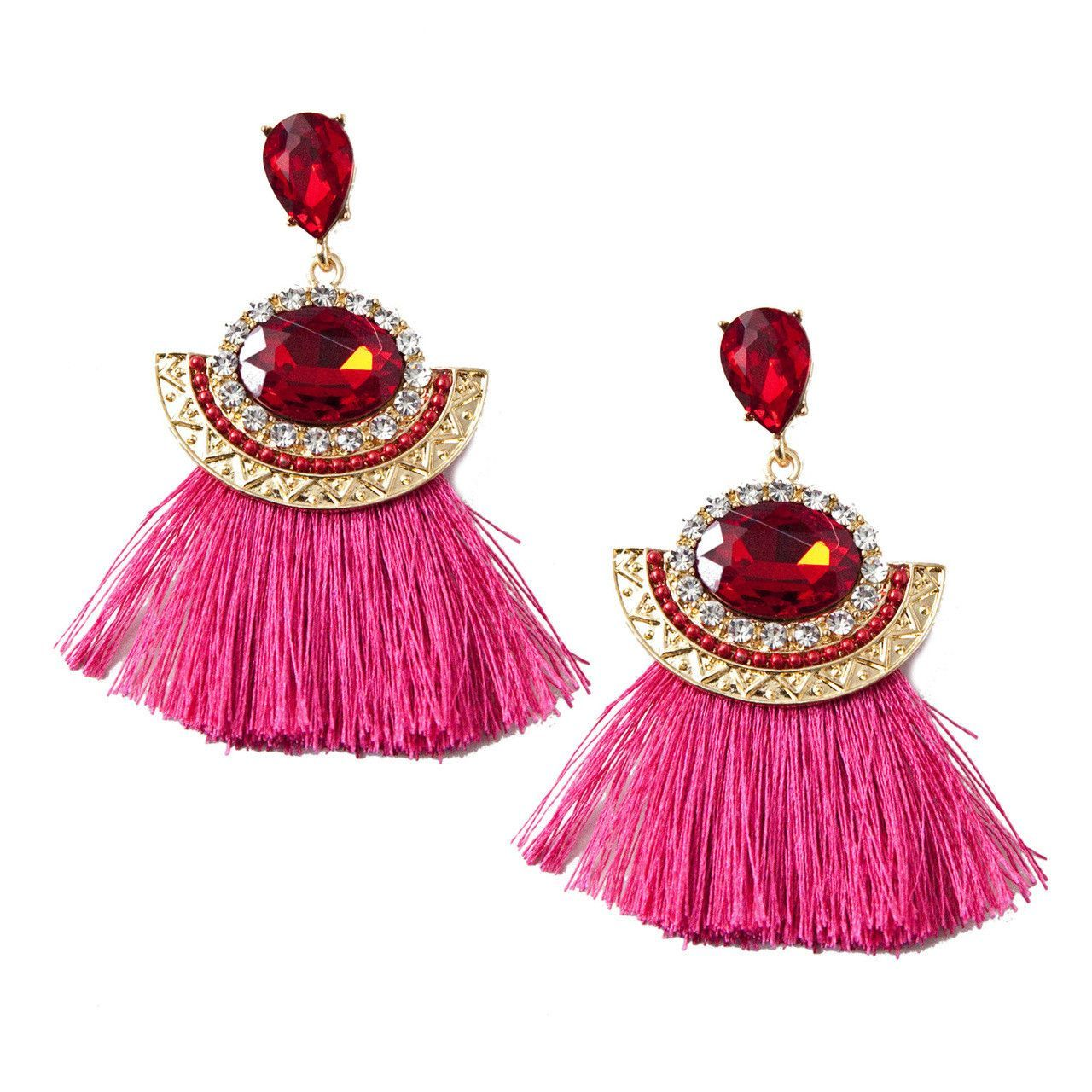 Tassel and Gem Earrings in Ruby and Pink