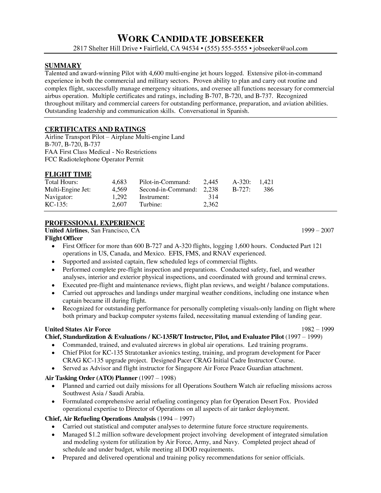 Airline Pilot Resume Template Pictures For Templateg Back Post