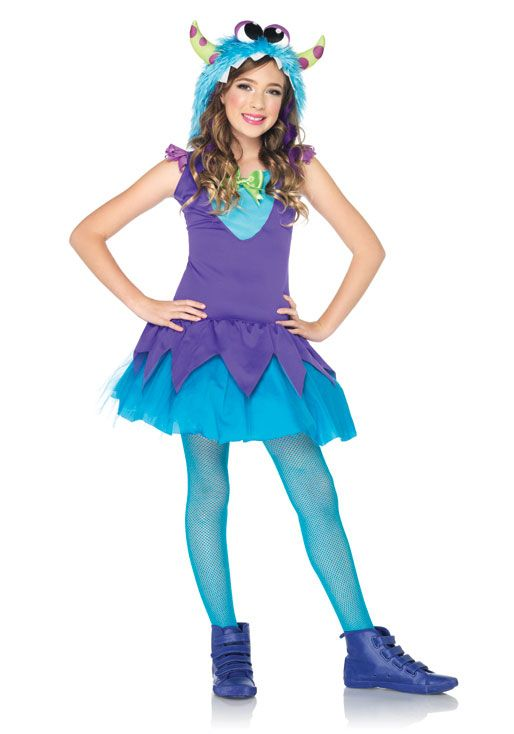 cool Cross-Eyed Carlie (Large,Teal/Purple) Halloween Costumes