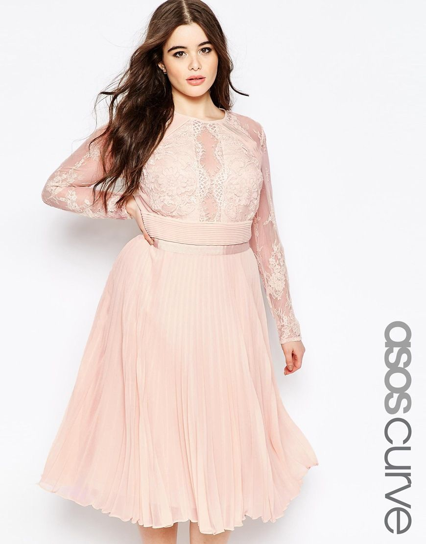 bb7f051f19027 Image 1 of ASOS CURVE Pleated Midi Dress With Pretty Eyelash Lace ...