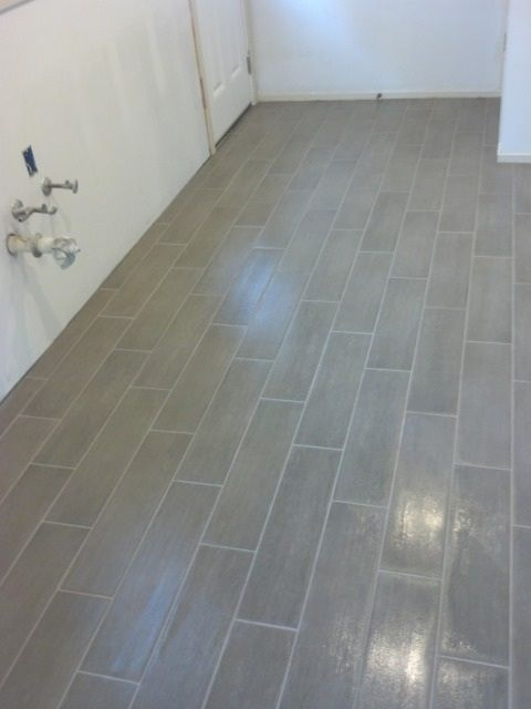 6x24 planking tile layout looks like hardwood but is much more durable - Bathroom Tile Layout Designs