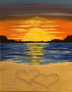 Pinot's Palette The Glen Wine, canvas, Beach sunset