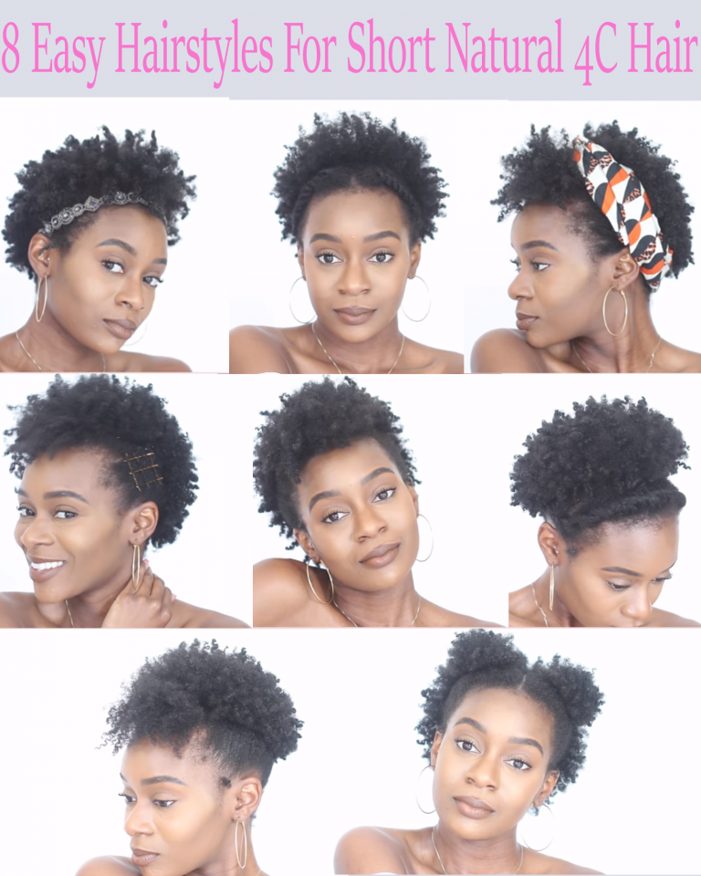 8 Easy Protective Hairstyles For Short Natural 4c Hair That Will Not Damage Your Edges African American Hairstyle Videos Aahv Short Natural Hair Styles Natural Hair Styles For Black