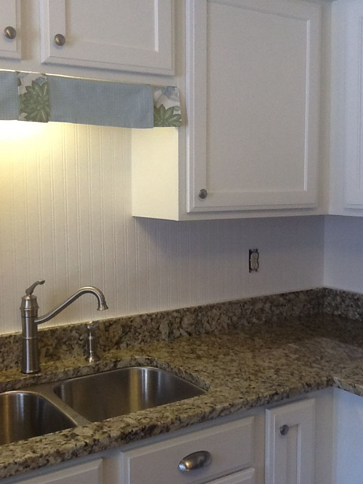 Using Allen Roth Beadboard Wallpaper From Lowes As A Backsplash Very Easy Paper To