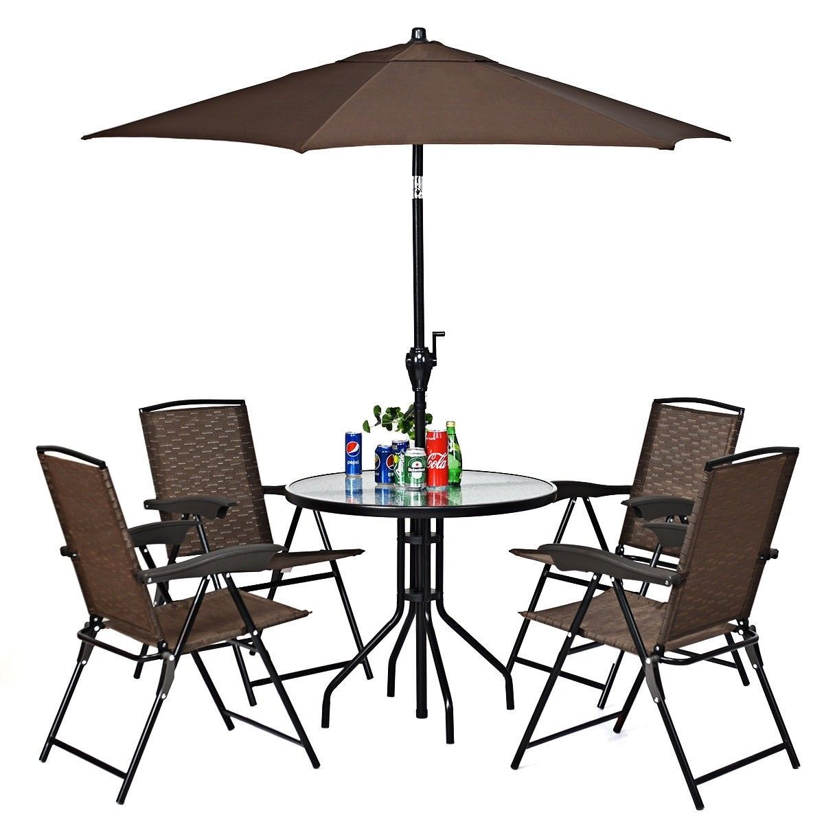 4 Pcs Folding Sling Chairs With Steel Armrest And 640 x 480