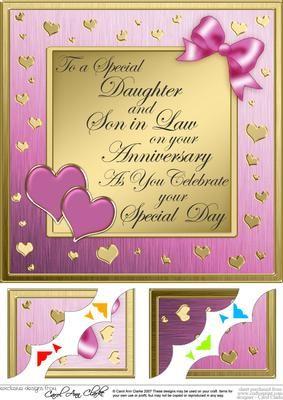 8x8 Daughter Son In Law Anniversary Scalloped Corner Happy