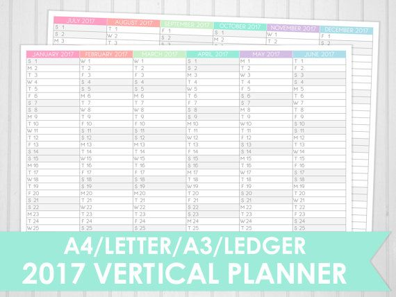 A4 A3 Letter Ledger Size 2017 Vertical Planner Printable Pastel - printable accounting ledger