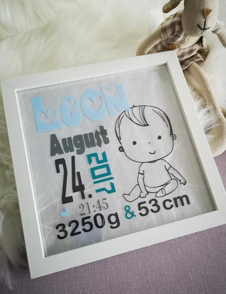 Leuchtrahmen Baby Nachtlicht beleuchteter Bilderrahmen Namensbild Geburt Taufe