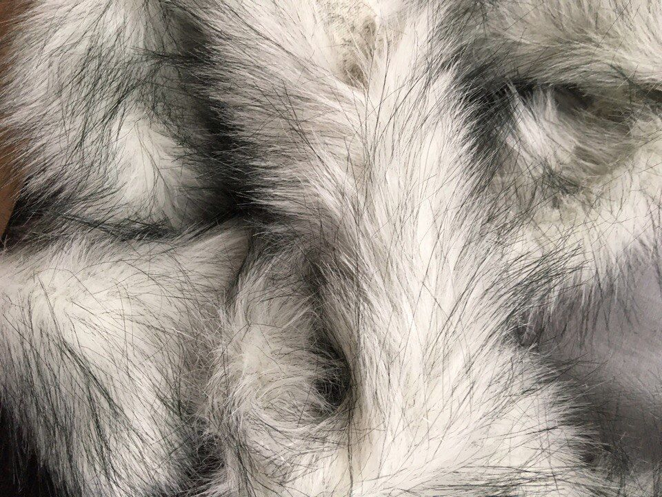 White Fox Faux Long Pile Fur Fabric Trim For Hood Size 7