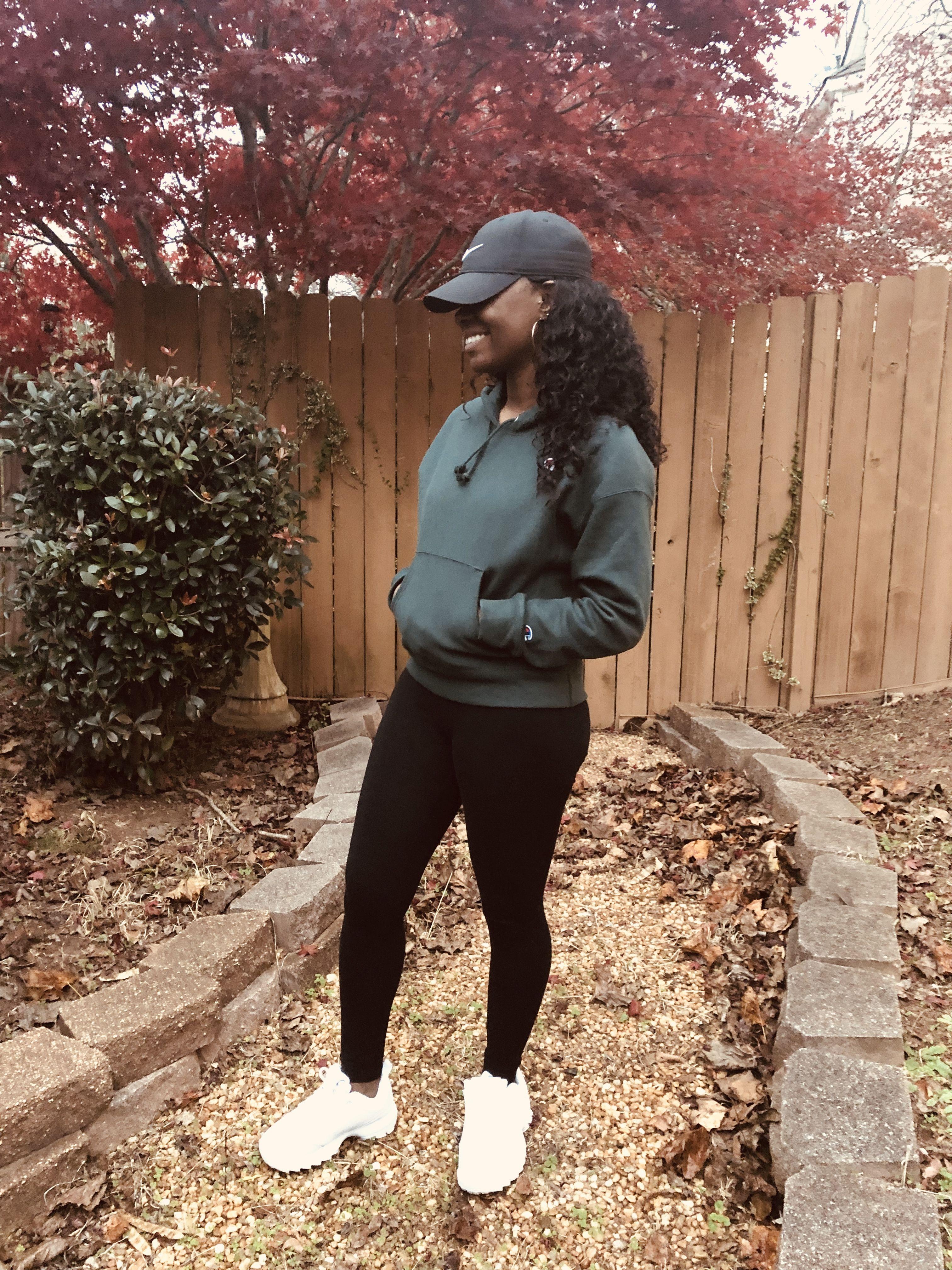 461f3137d Black leggings Triple white Fila Champion hoodie Black nike hat Lace wig  Deep wave