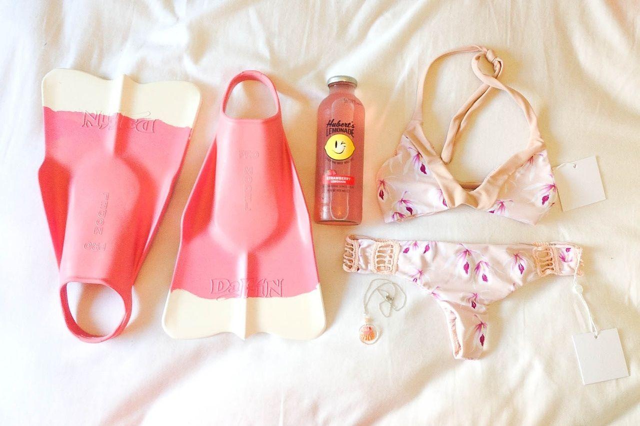 Acacia swimwear, Herbert's lemonade, a sunrise shell necklace, and da fins