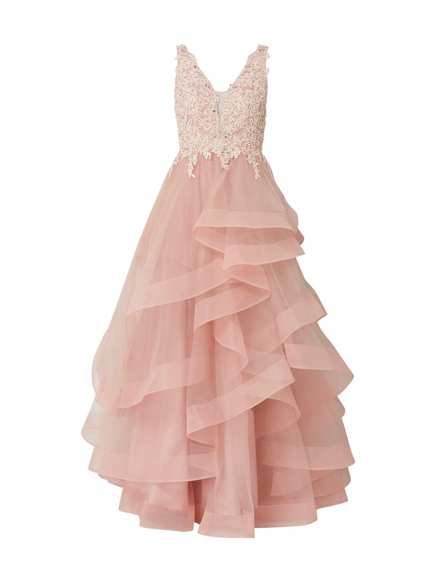 unique abendkleid aus tüll im stufen-look in rosé online