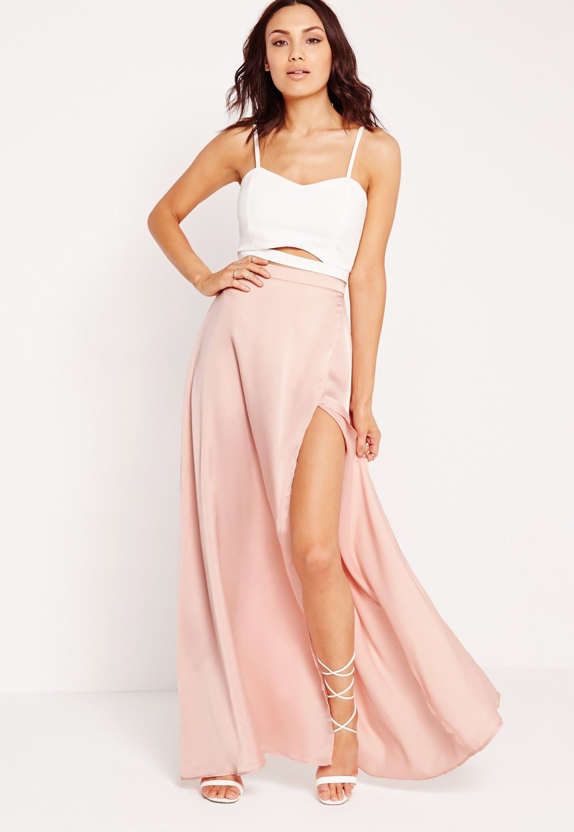 0ffdbfb22a9 Missguided - Satin Wrap Maxi Skirt Pink