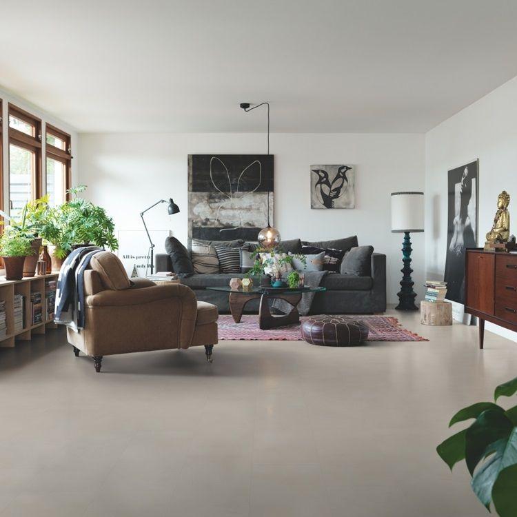 Beige Tile Optimum Click Vinyl Greige Soft Concrete V3120-40144 - Kuhfell Teppich Wohnzimmer