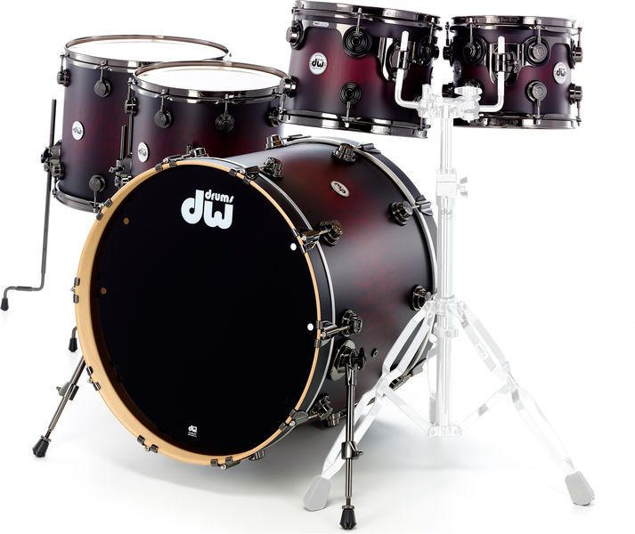 DW Exotic Cherry to Candy Black Drum Workshop Collector Shell Set, Exotic Series, shell material: 100% North American maple wood, colour: Cherry Stain lacquer thomann to Candy Black Burst Over Quilted Maple, Black Nickel Hardware,... Bass Drum Size: 22 Number of TomToms: 2 Number of Stand Toms: 2 Shell Material: Maple thomann Shell Surface: Paint, matt Shell Finish: Lacquer, Matt Burst: Yes Sparkle: No Shell Hardware Colour: Black Nickel Inc Snare: No
