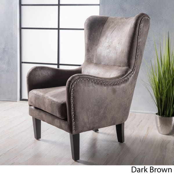 Lorenzo High Back Studded Fabric Club Chair By Christopher Knight Home