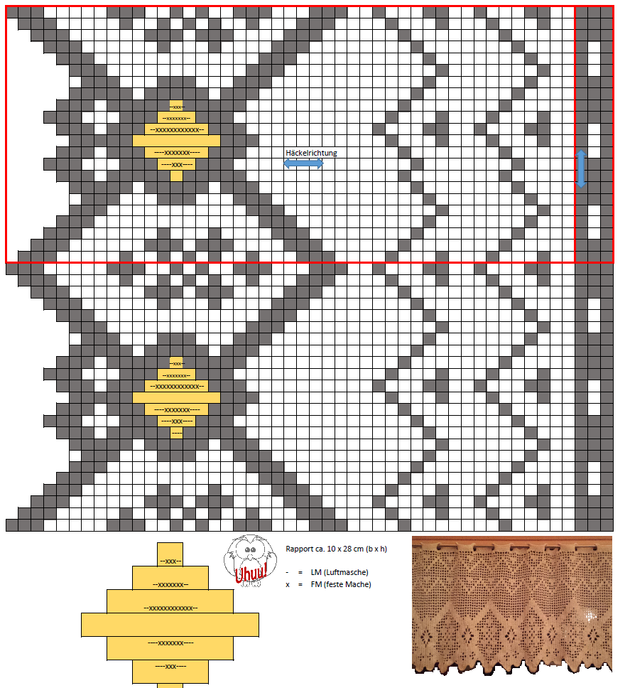 Gardinen / Vorhang, häkeln / Filethäkeln, Geometrisch 1, Anleitung ...